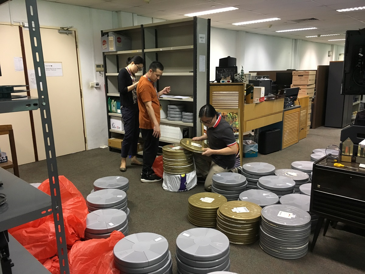 Organised chaos before the films are deposited into the vault