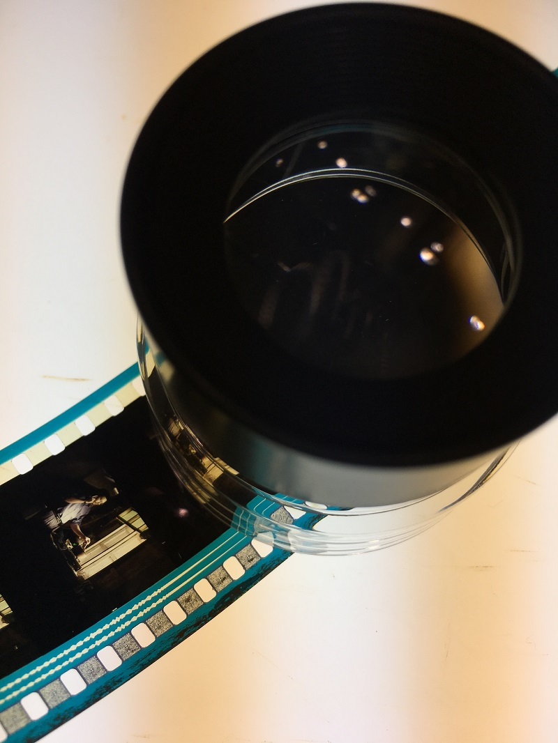 Close inspection of a frame from a film